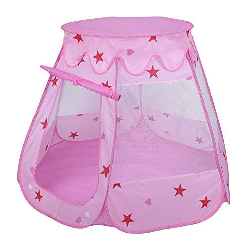 Draagbare opvouwbare indoor indoor kindertent, Childs Playhouse Toy Verjaardagscadeau Eenvoudig schoon te maken tent met een deur en gaasramen(Roze)