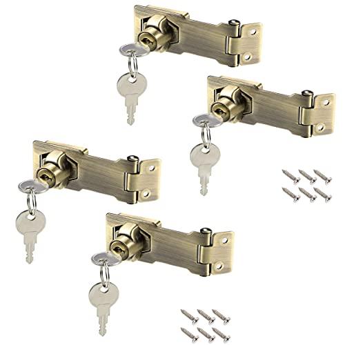 Hasp di blocco in metallo, Confezione da 4 pacchi 3 pollici Lock Hasp con chiave Hasp con Lucchetto e Chiave Chiusura In Metallo Hasp per Porte/Armadi/Finestre Senza Perforazione,Bronzo