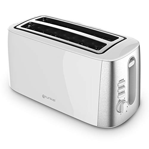 Grunkel - TS-DOBLEMAXI - Tostador de ranura extra ancha con control electrónico de tostado. Función calentar sin tostar, descongelar y cancelar - Blanco (1400W)