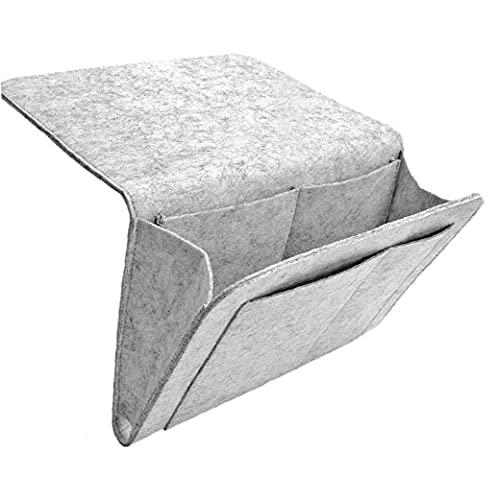 finebrand Vilt Bed Pocket Bedside Opbergtas Light Grey Opknoping Organizer Met Zakken Voor Boeken En Meer Kleine Something