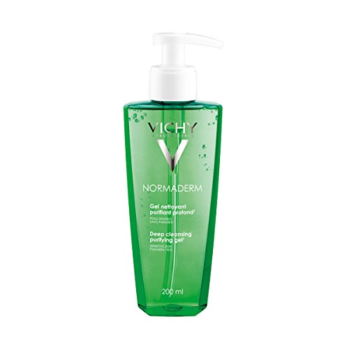 Vichy Normaderm - geles de lavado y limpieza facial (Piel sensible, Anti-acne, Anti-bacterial, Anti-drying, Anti-irritation, Soothing, Frasco dispensador, Wet face with warm water to help open pores.)