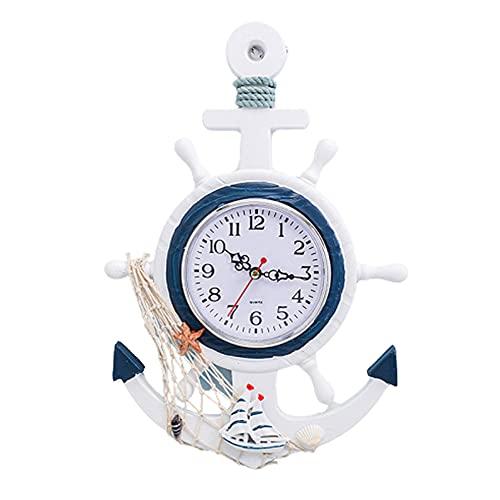 Gona Anchor Clock Wall Mount, Wood Nautical Ship Wheel Rudder Steering Beach Sea Theme Wall Hanging Decoration for Bedroom