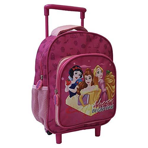 CARTOON GROUP Mochila para guardería con ruedas, diseño de princesas Disney Blancanieves Rapunzel Belle con 2 ruedas, mango extensible de 30 cm – PR0617