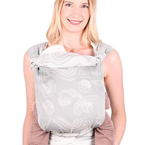 SCHMUSEWOLKE Mei Tai Babytrage Neugeborene und Kleinkinder Caribbean Grey BIO-Baumwolle Babysize 0-24 Monate 3-16 kg Bauch-und Rückentrage
