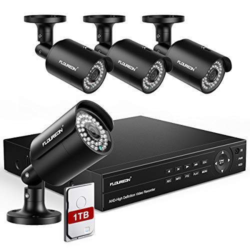 Floureon DVR 8CH Sistema de Vigilancia 6 en 1 Sistema de Cámara de Seguridad y 4X HD 1080P XVI CCTV Cámara Exterior con Detección Humana Alerta de Movimiento con 1TB HDD