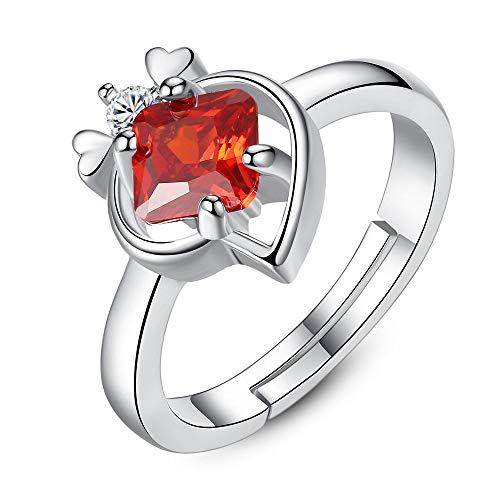 BNFG Ringe Offener Damen,Damen Verstellbare Ringe Roter Zirkon Pfirsich Form Design Silber Ring Elegante Ewigkeit Freundschaft Schmuck Geschenk Für Mädchen Männer Frauen