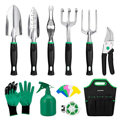 GIGALUMI Garden Tools Set -11 Piece Heavy Duty Gardening Tools Succulent Tools Set with Garden Gloves & Handbag - Aluminum Outdoor Hand Tools with Trowel Pruners and More - Gardening Gifts for Woman