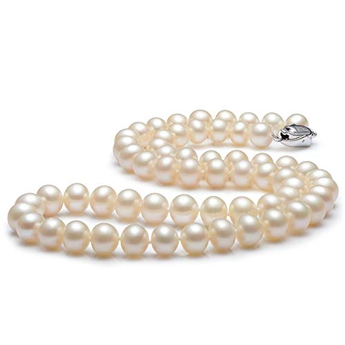 AnaZoz Collar de Plata de Ley 925 Colgante Collar Mujer Collar Mujer Perla Redonda Collar Colgante Mujer Longitud 50CM