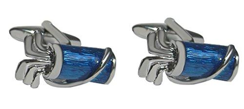 Unbekannt Manschettenknöpfe Golf Tasche Bag blau silbern inkl. Silberbox