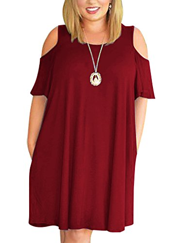 Nemidor Women's Cold Shoulder Plus Size Casual T-Shirt Swing Dress with Pockets (16W, Wine)