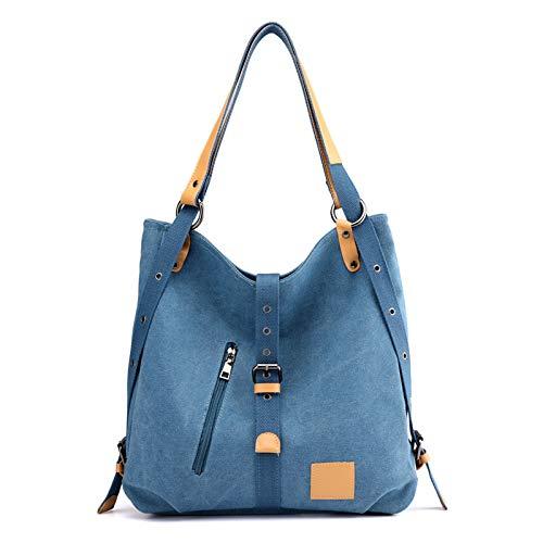 Pinle Bolso de Hombro de Mochila, Bolsos de Lona multipropósito para Mujeres, Bolsas de Asas, duraderas de Gran Capacidad de Viaje Cruzado (Color : Blue)