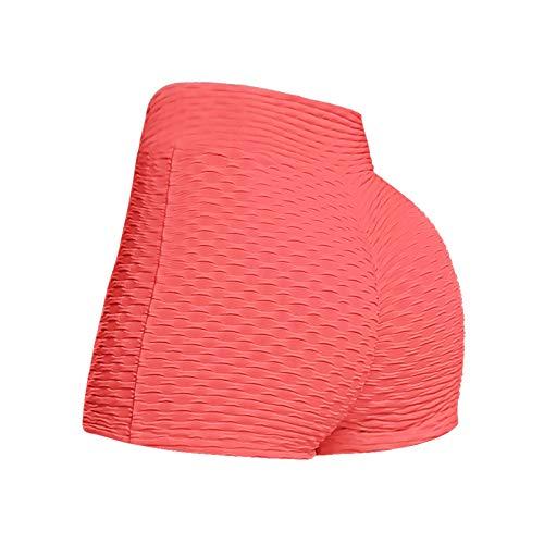 BAOhomchen Women 's Honeycomb Ruched Booty Shorts TIK Tok High Yoga Pants Sexy Tight Leggings Waisted Push Up Gym Scrunch Butt Shorts Butt Lifting Hot Pants Dancing Shorts (Red, Medium)