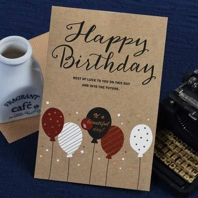 Wenskaarten BLTLYX Vintage Verjaardagskaarten Zakelijk Kraft Gelukkige Verjaardag Wenskaarten Cadeau Berichtkaarten Partij 11,5 * 17cm Zoals afgebeeld