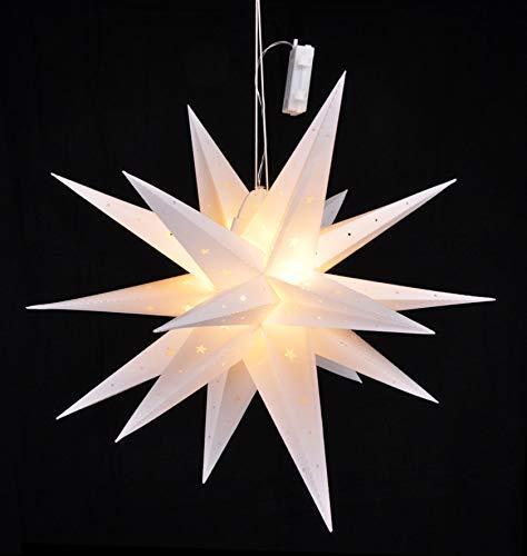 LED julstjärna 58 cm med biltimer – batteridriven – LED stjärna till jul att hänga upp fönsterkodo