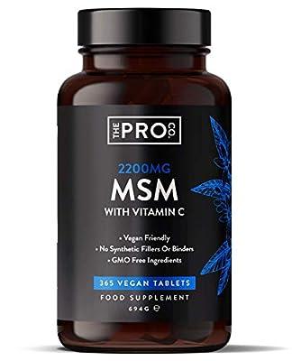 MSM 2200mg Tabletten - 365 Vegane Tabletten - Methylsulfonylmethan mit 80mg Vitamin C - trägt zur normalen Kollagenbildung bei - 6 Monatsvorrat - Hergestellt von The Pro Co.