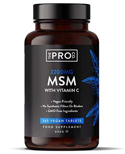 MSM 2200 mg tabletas - 365 tabletas veganas - Metilsulfonilmetano con 80 mg de vitamina C - Contribuye a la formación normal de colágeno - Suministro para 6 meses - Fabricado por The Pro Co.