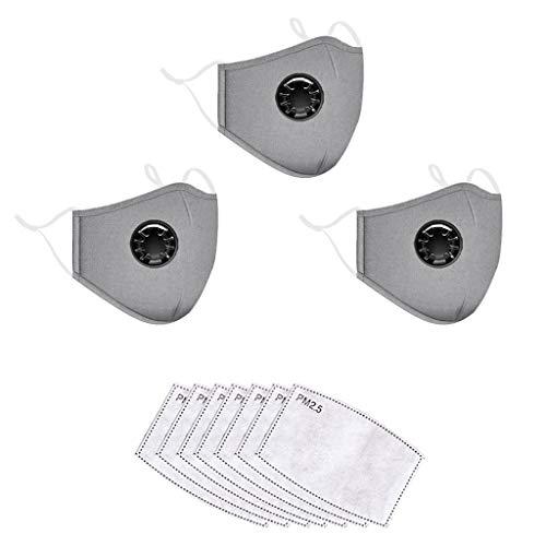 CRITY Bandanas reutilizables de algodón lavables Protección facial completa transpirable con válvula de respiración para adultos 7 Reemplazos del filtro de carbón activado (Gray)