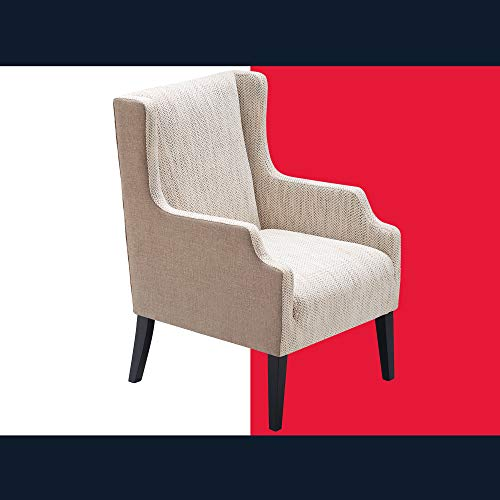 Tommy Hilfiger Barton Wingback Chair, Mid Century Modern Accent Furniture for Living Room, Two-Toned Upholstered Armchair, Easy Assembly, Brown and Herringbone Beige