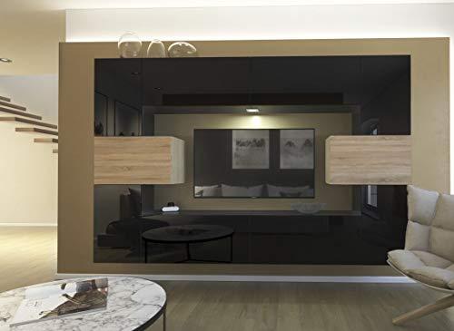 Home Direct Wohnwand Modernes Wohnzimmer Mediawand TV Schrank Wohnschrank Möbel mit LED Beleuchtung Schrankwand mit Frontscheibe Monaco NX4 (AN4-17WS-HGM31 1B (256cm), LED Weiß)