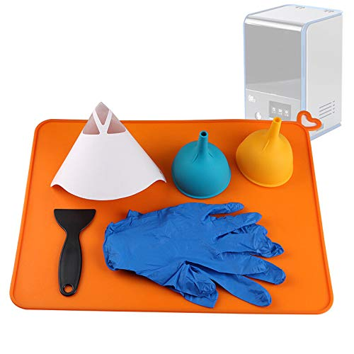 RLJJCS 10pcs Paper Funnel+2pcs Silicone Funnel+Silicone Pads with Gloves+DLP Spatula Kit for UV Resin 3D Printer Part u00a0Accessories