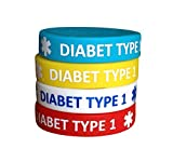 Diabetes Type 1 Silicone Bracelets for Kids Teens Child 4 Pack