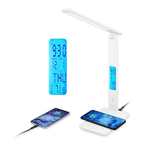 Lámpara de Escritorio, LAOPAO Lámpara de Mesa LED con Carga Inalámbrica Wireless y Puerto USB, Control Táctil 5 Niveles de Brillo Regulable Lámpara de Oficina Flexible para Trabajo, Estudio y Lectura