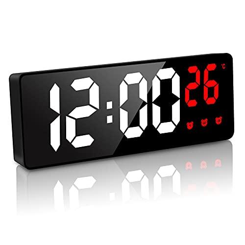 JQGO Reloj Despertador Digital, LED Pantalla Reloj Alarma Inteligente con Temperatura, Alimentado por Batería, Alarma Activada por Sonido, con Pantalla de Fecha y Función Despertado, Rojo