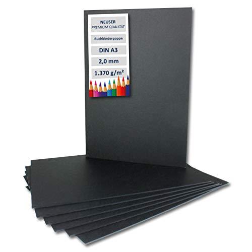 Cartón de encuadernación de 2 mm extremadamente resistente, color DIN A3 negro – 2,0 mm 10 unidades