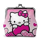 Cartera de piel con diseño de anime de Hello Kitty con cierre de gran capacidad para mujeres y hombres para cambiar monedero, bolsa de almacenamiento