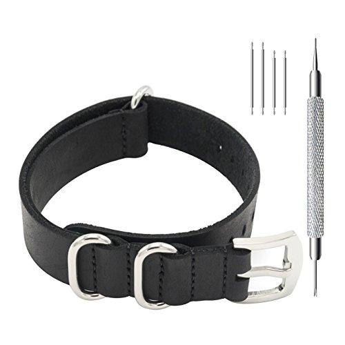 CIVO Uhrenarmband Echte Crazy Horse Leder Armband Handarbeit NATO Zulu Militär Schweizer G10 Stil Uhrenarmbänder 18mm 20mm 22mm (18mm, Schwarz)