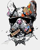 大人のための番号キットによるペイントブラシとアクリル顔料の初心者のためのDIY油絵家の装飾ギフト40x50cm-喫煙ピットブル