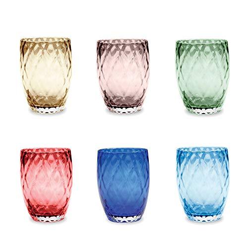 Zafferano Losanghe Juego 6 vasos agua colores diferentes