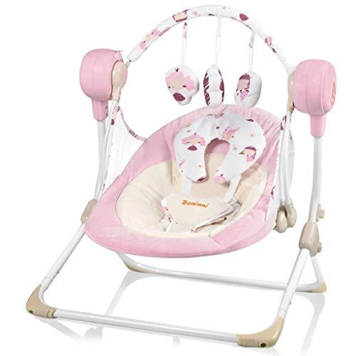 Baninni Babywippe mit Spielbogen Rosa Babyschaukel Schaukel Wippe Wiege Liege