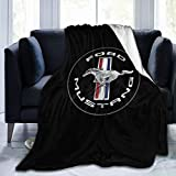 Kaopey Ultra-Soft Micro Fleece Blanket Throw Super Soft Hypoallergenic Plush Bed Couch Living Room Mustang Gt Logo