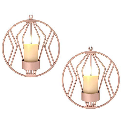 Sziqiqi Set of 2 wall candle holders for living room, wall sconces for pillar candles or tea light, Metal metal candelabra for Living Room Bedroom, for Wedding Bedroom Decor, Rose Gold