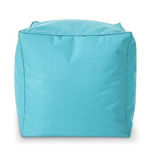 Green Bean Outdoor © Square Dice Sitzsack-Hocker - 40x40x40 cm - Indoor & Outdoor - schmutzabweisend, waschbar - Bean Bag Pouf, Fußunterlage, Sitzbank - für Kinder & Erwachsene - Aquamarin