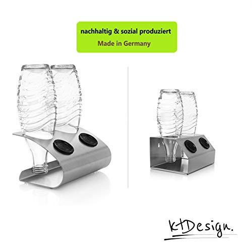 ktDesign SodaStream Abtropfhalter aus Edelstahl für 2 Flaschen – Flaschenhalter mit Abtropfboden und Deckelhalterung für SodaStream Crystal, Emil- und Glasflaschen, Made in Germany