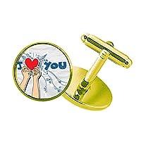 私はあなたの心のサインを持っバレンタイン愛 スタッズビジネスシャツメタルカフリンクスゴールド
