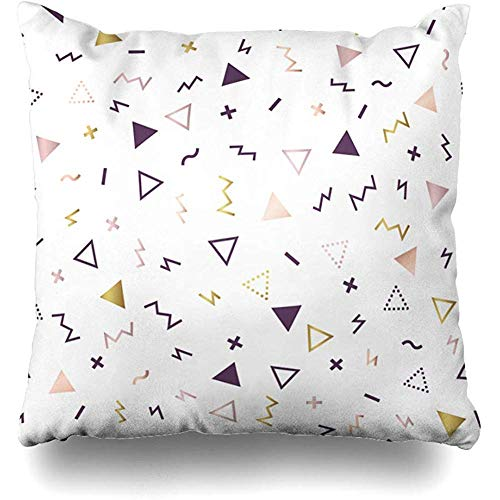Throw Pillow Case 45x45 cm Geometric 1980S Retro Line Pattern Invitation Memphis Style Modern Rose Abstract Pop Textures with Cushion Cover