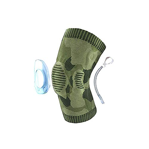 持つ価値があります - シリコンパッドと弾性金属サイドバーが付いているスポーツ膝圧縮ブレーススリーブの包帯関節の痛みのための強化リフティングの走行の関節炎、緑、m