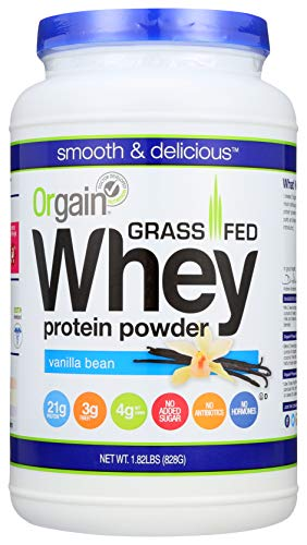 Orgain Grass Fed Clean Whey Protein Powder, Vanilla Bean - Low Net Carbs, Gluten Free, Soy Free, No...