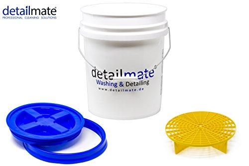 detailmate Profi Set Auto Reinigung GritGuard: Wasch Eimer 5 GAL (ca. 20 Liter) / Gamma Seal Eimerdeckel blau/Einsatz gelb