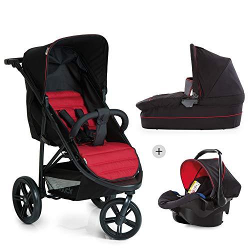 Hauck Rapid 3 Plus Trio Set - Carro deportivo 0 meses hasta 25 kg, coche de bebes 3 piezas de capazo, sillita adaptable a base isofix, ligero, manillar ajustable, plegado con una mano, grupo 0+, rojo