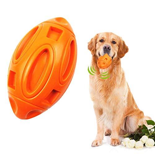 Juguete masticable de perro de bola destructible, bola de goma natural, juguete para perro resistente para masticadores extremos, pelota de rugby para raza media y grande (naranja)