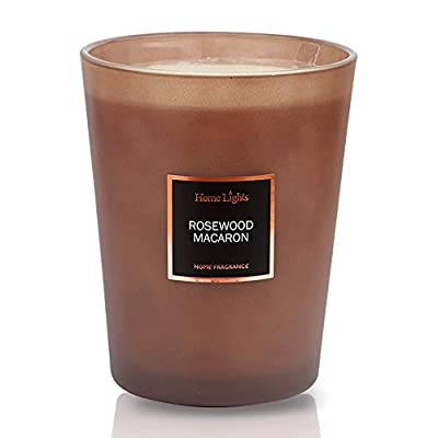 HomeLights Scented Candles | Large Jar Candle - 33.3 Oz. Natural Soy Aromatherapy Candles | 60+ Hour Burn Time with 3 Cotton Wicks, Home Decorative Fragrance Candles Gift - Rosewood Macaron