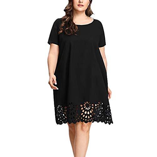 Vestidos Mujer 2019 Nuevo SHOBDW Cuello Redondo Color Sólido Hueco Suelto Fiesta Nocturna Boda Vestidos de Fiesta Mujer Tallas Grandes XL-5XL(Negro,4XL)