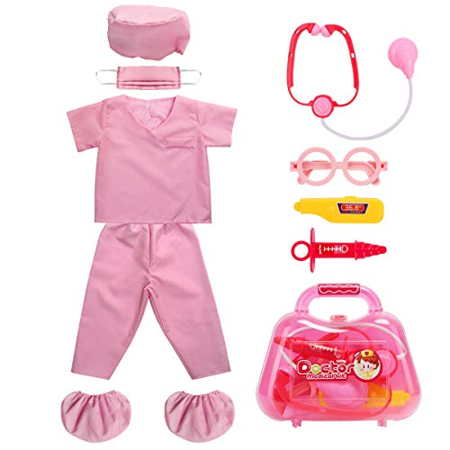 Fedio Kid's Scrubs Role Play Costume Dress up Set with Medical Toy Kit for Toddler Children Ages 3-5 (Hot Pink)