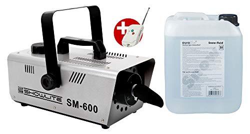 Showlite SM-600 Schneemaschinen Set (Kleine 600-Watt Schneemaschine mit 30 m³/min Schneeausstoß & 1-Liter Tank inkl. 5L Eurolite Schneefluid)