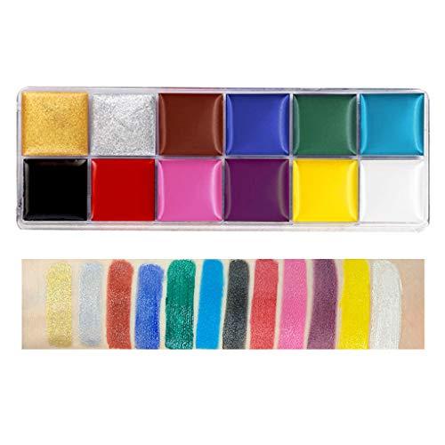 VVXXMO Juego de pintura corporal para la cara de 12 colores, no tóxica, segura y soluble en agua, pintura al óleo, tatuaje de Halloween, fiesta de disfraces, suministros de maquillaje de belleza