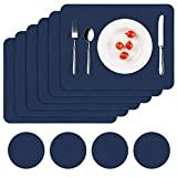 APLKER Platzsets Leder Tischsets Abwaschbar 6er Set PU Kunstleder Platzdecken Wasserdicht Hitzebeständig Platzmatten und Glasuntersetzer Sets für Küche Esstisch Tischsets, 41 x 30 cm, Dunkelblau